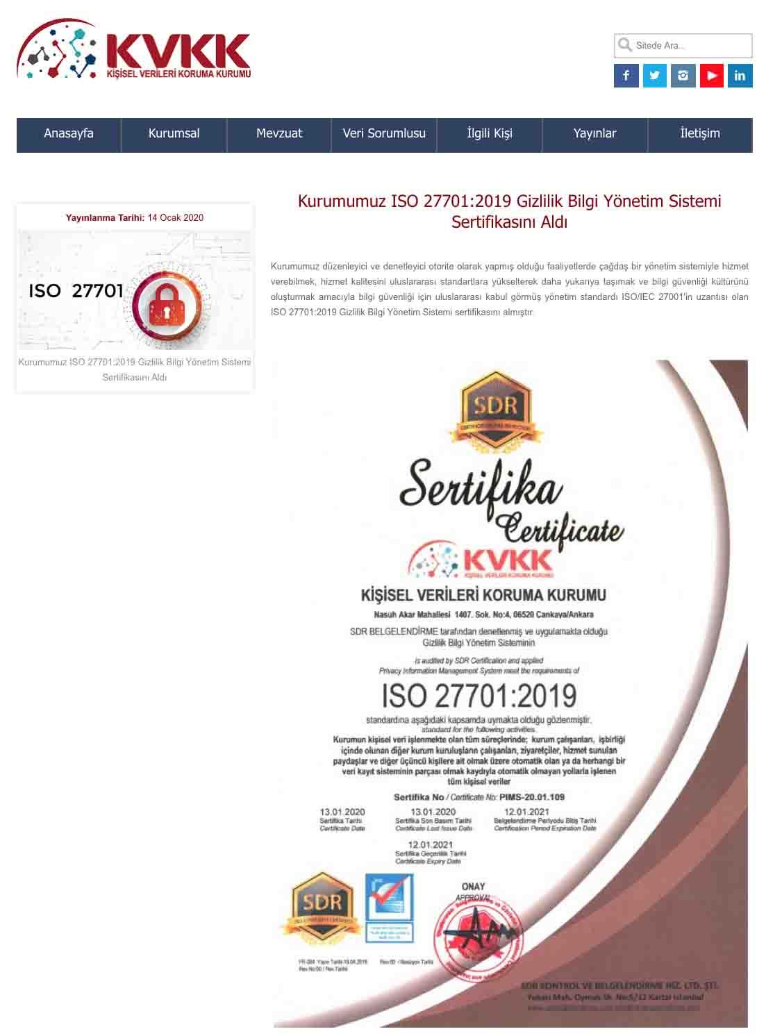 KVK Kurumu ISO 27701:2019 Gizlilik Bilgi Yönetim Sistemi Sertifikasını Aldı 1