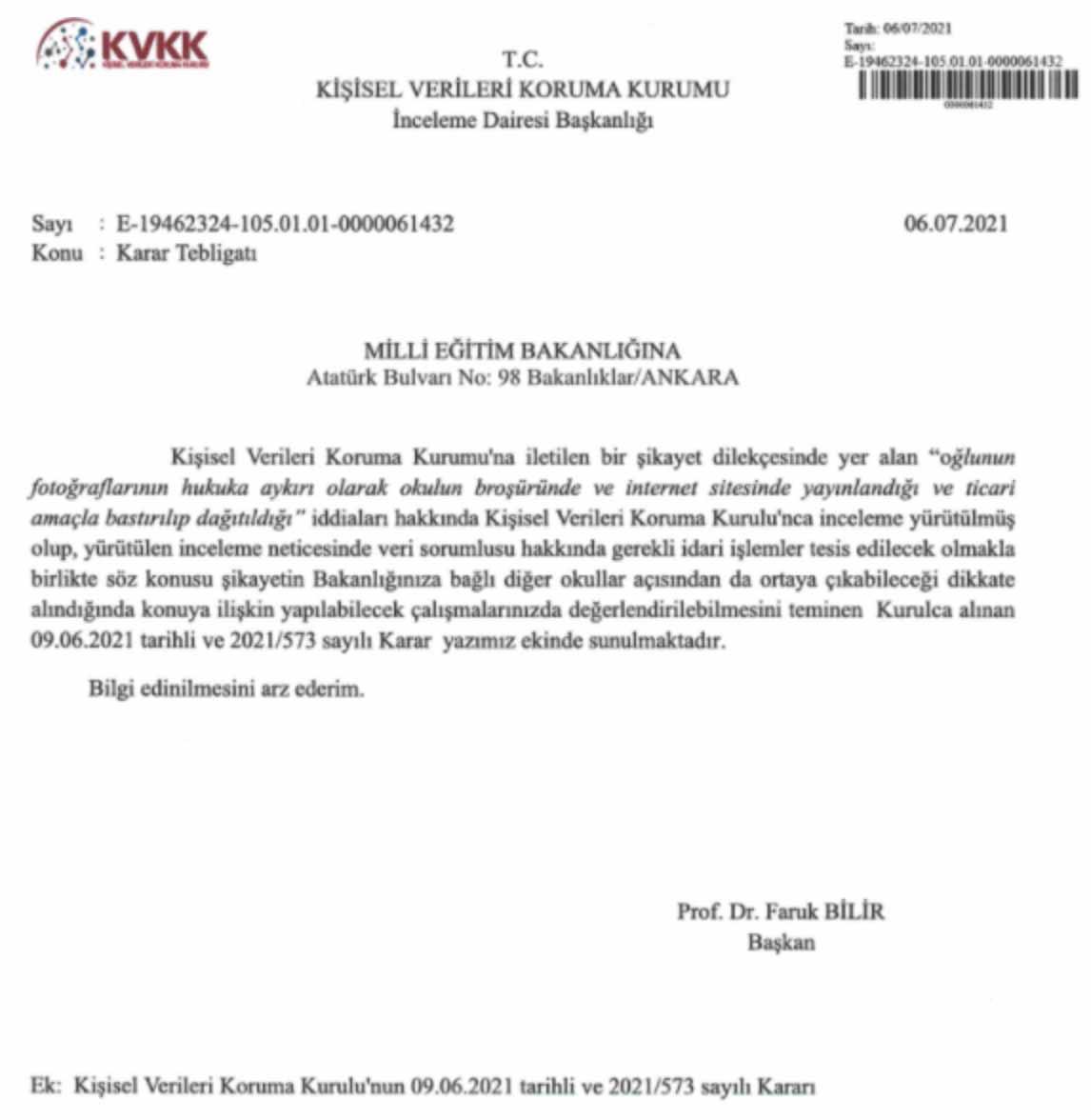 MEB'e öğrenci fotoğrafları konusunda KVKK'dan uyarı 1